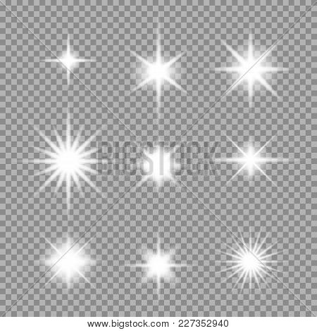 Vector Set Of Transparent Abstract Star Burst With Sparkles. Lighting Flare, Glow Light Effect. Vect