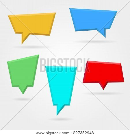 Vector Set,collection Of Color Empty Plastic Speech Bubbles. Blank Frame Mockup Template Isolated On