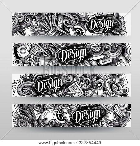 Cartoon Graphics Vector Hand Drawn Doodles Designer Corporate Identity. 4 Horizontal Banners Design.