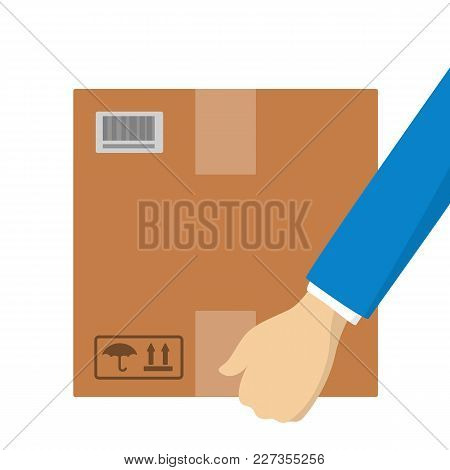 Hands With Parcel Box On White Background.