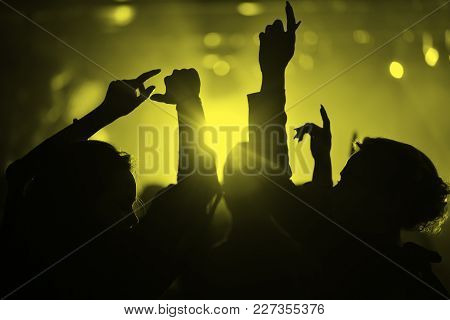 Hands Of People In A Nightclub At A Party