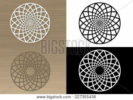 Circular Pattern For Laser Cutting. Napkin Or Emblem. Stencil. Transparent Shade