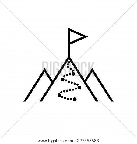 Flag On The Top Of Mountain. Isolated Vector Icon, Sign, Emblem, Pictogram. Flat Style For Design, W