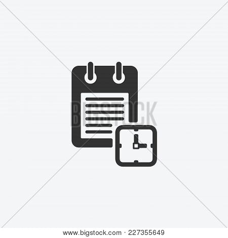 Icon Graphic Calendar, Notepad. Black And White Pictogram For Web Design. Vector Flat Illustrations,