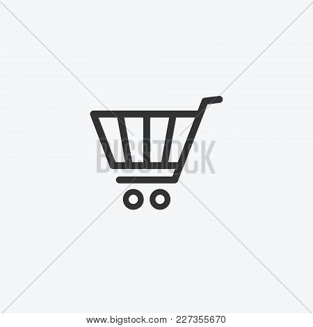 Shopping Cart, Gurney In Supermarket Isolated Flat Web Mobile Icon. Vector Graphic Illustration. Log