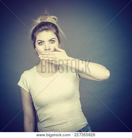 Woman Covering Her Mouth With Hand. Seeing Something Shocking, Surprised And Speechless Face Express