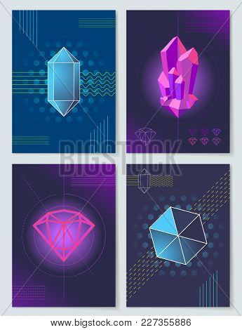 Bright Neon Lights And Geometric Shapes Posters In Abstract Futuristic Style Cartoon Vector Illustra