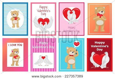 Cute Soft Toy Bears And White Doves Couples In Love With Red Hearts Isolated Cartoon Banners Vector