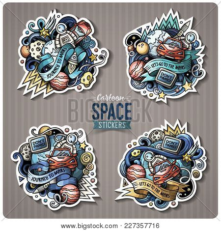 Cartoon Vector Doodles Space Stickers Set. Red Car In Outer Space Label Design Elements.. Cute Patch