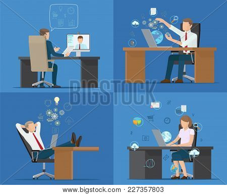 Set Of Cards Office Workers Vector Illustration With Four Employees Sitting On Chairs, Various Table