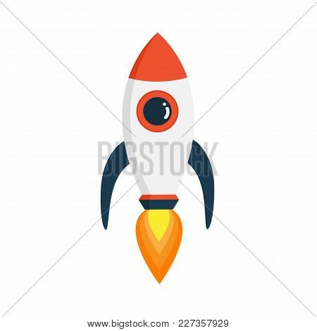 Rocket In Fat Style Isolated On White Background. Vectors Stock.