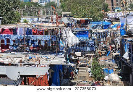 Mumbai India - October 12, 2017: Dhobi Ghat Laundromat Traditional Life Mumbai India