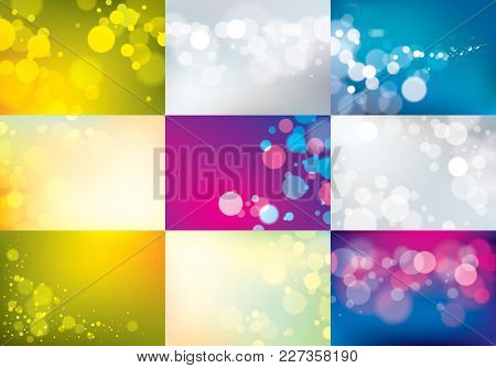 Blurred Lights Backgrounds Set. Bokeh Effect Textures. Beautiful Vector Abstract Illustrations Colle