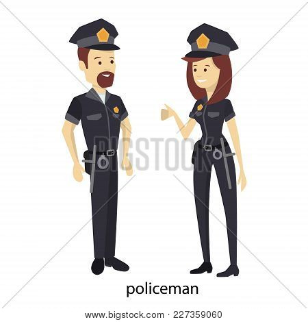 Isolated Police Couple In Uniform On White.