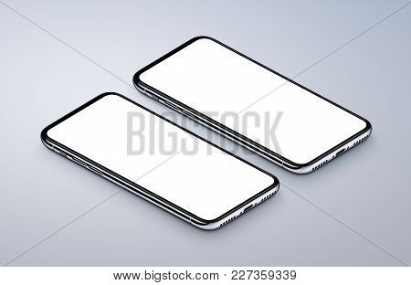 Two perspective view isometric smartphones like iPhone X mockup. New frameless smartphones front side mockup. Ready to use smartphone mock-up poster for mobile app UI or game presentation. 3D illustration.