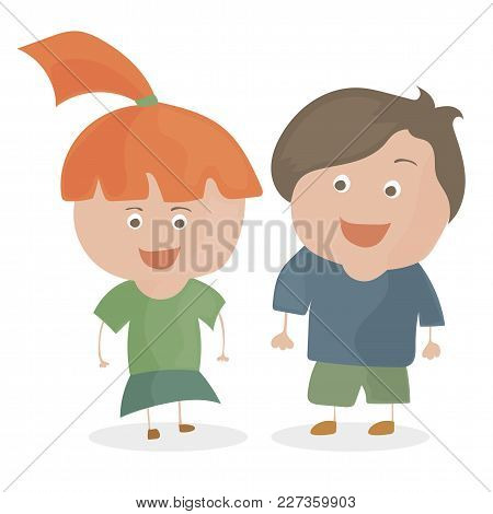 Boy And Girl. Funny Cartoon And Vector Teen Characters.