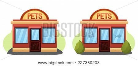 Illustration Of 2 Modern Pet Store Or Grooming Pet Salon Buildings.pet Shop Concept. Animal Grooming