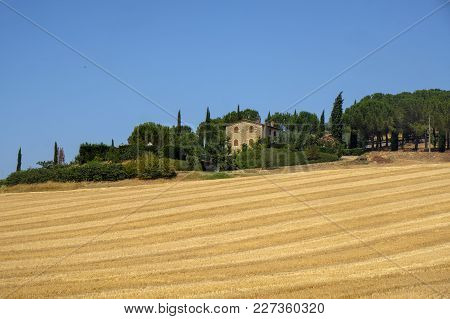 Summer Landscape Near Perugia, Umbria, Italy, Between Solomeo And Vignaia