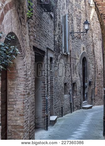 Historic Buildings Of Citta Della Pieve, Perugia, Umbria, Italy, Typical Street