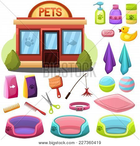 Pet Shop Or Salon Objects Set And Facade Building. Grooming Items, Toys And Food For Pets.accessorie
