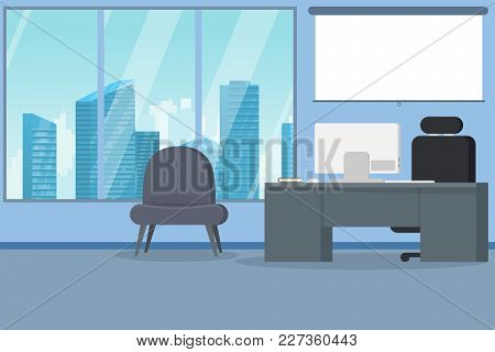 Office Interior Modern Flat Vector Illustration. Business Table With Computer Monitor And Leather Ch