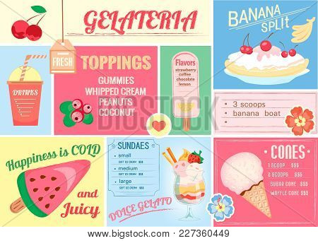 Pleismat, One-page Menu For Ice Cream And Drinks For Cafes, Bars, Restaurants. Vector Illustration O