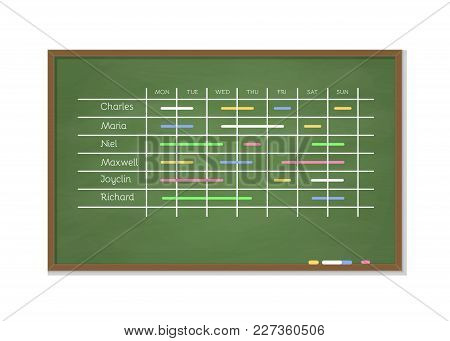 Green Chalkboard Schedule For Week Planning. Business Planner Design. Colored Tasks Weekly Activity