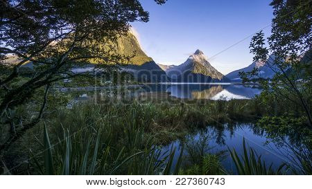 Beautiful Sunrise In Milford Sound, New Zealand. - Mitre Peak Is The Iconic Landmark Of Milford Soun
