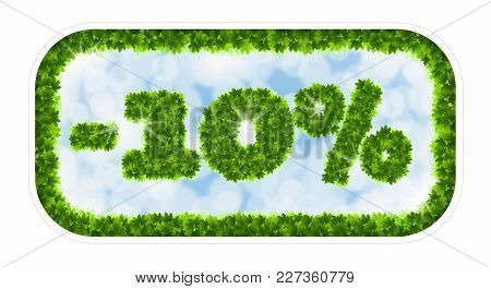 Wobbler Spring Sale 10 Percent Off. Letters And Figures From Maple Leaves On A Heavenly Background W