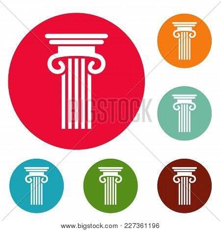 Double Columned Column Icons Circle Set Vector Isolated On White Background