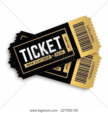 Two, Pair Vector Ticket Isolated Isolated On White Background. Cinema, Theater,  Concert, Play, Part