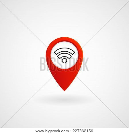 Red Location Icon For Wifi, Vector, Illustration, Eps File
