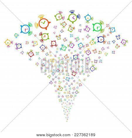 Multi Colored Buzzer Explosion Fountain. Object Fountain Organized From Random Buzzer Icons As Firew