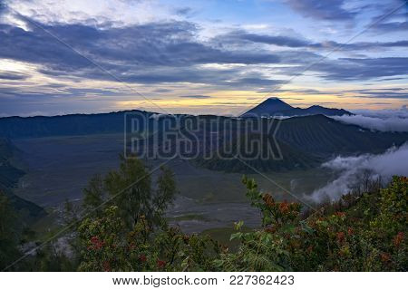 Sunrise At Bromo Mount Bromo, Is An Active Volcano Located At Eat Java - Indonesia. Mount Bromo Is T
