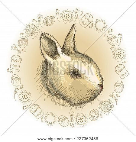 Vector Graphic Sketch Of Baby Rabbit Profile And Round Frame In Beige With Easter Symbols Isolated O