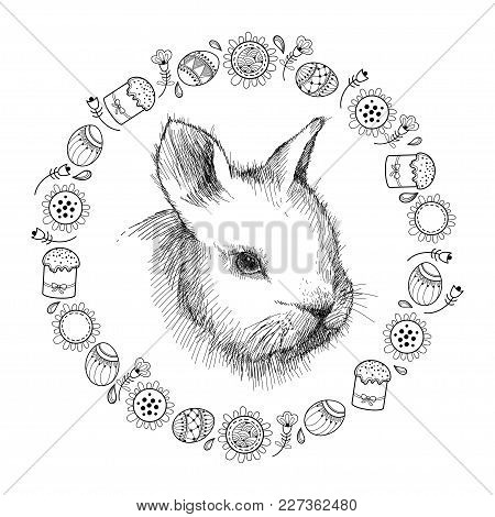 Vector Graphic Sketch Of Baby Rabbit Profile And Round Frame With Easter Symbols In Black Isolated O