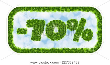 Wobbler Spring Sale 70 Percent Off. Letters And Figures From Maple Leaves On A Heavenly Background W