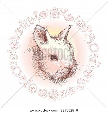 Vector Graphic Sketch Of Baby Rabbit Profile And Round Frame In Pink With Easter Symbols Isolated On