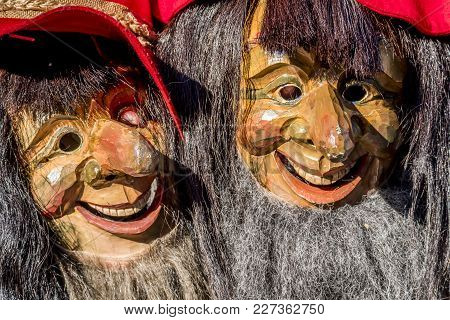 Close-up Of Two Traditional Fasching , Carnical, Masks In Stuttgart, Germany