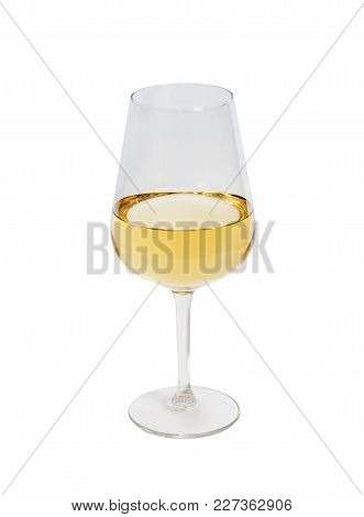Glass Of White Wine Isolated On White Background