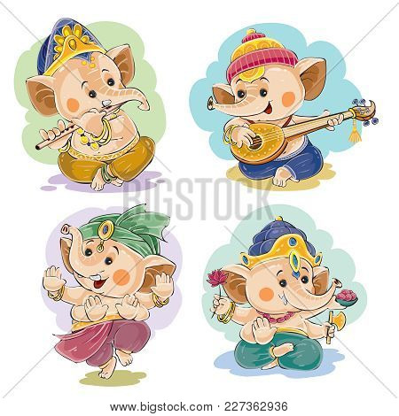 Vector Cartoon Illustration Of Little Baby Ganesha, Indian God Of Wisdom And Prosperity, In Traditio