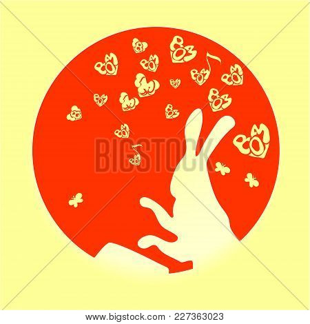 Cute, Funny Animal, Rabbit Is A Hare Pounding The Drum Vector Of Cartoon. Small Red Heart On Valenti