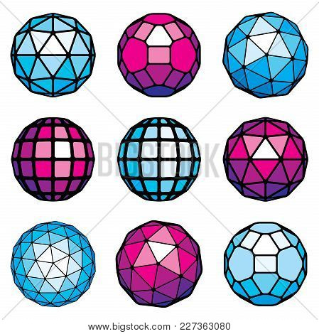 Collection Of Abstract Vector Low Poly Objects. Set Of Futuristic Balls With Geometric Figures. 3d S