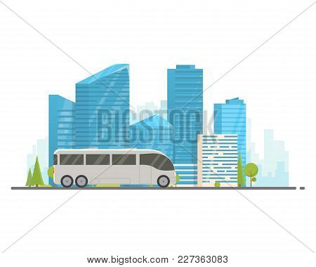 Touristic White Bus Driving On Freeway. Urban Background, Skyscrapers And Buildings. Bus Travel Conc