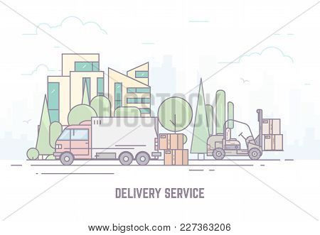 City Delivery Truck On City Road. Urban Background, Skyscrapers And Buildings, Park And Trees. Deliv