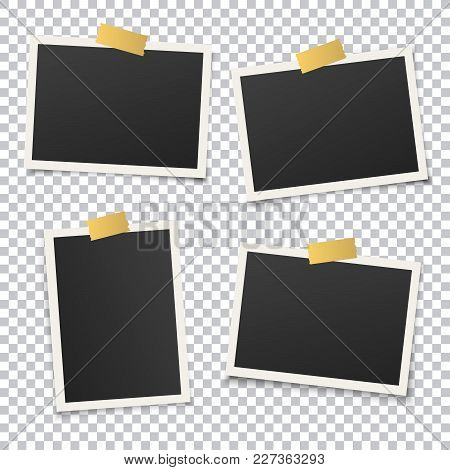Set Of Vintage Photo Frame Set With Golden Adhesive Tape. Vector Illustration With Gold Adhesive Tap