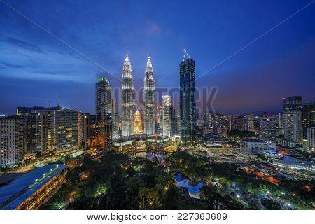 Kuala Lumpur, Malaysia - Circa October 2017: Blue Hour Sunset View Of Kuala Lumpur City Skyline Take