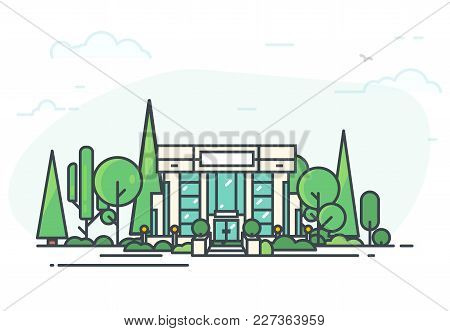 Bank Building. Bank Or Big Building In City Center. Flat Style Line Vector Illustration. Business Ci