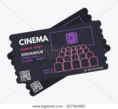 Cinema Ticket Template. Dark, Black Color Design With White, Purple And Pink Text. Movie Theater. Pa