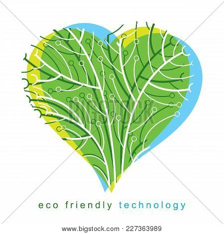 Graphic Vector Illustration Of Tree In The Shape Of Romantic Heart Created In Communication Technolo